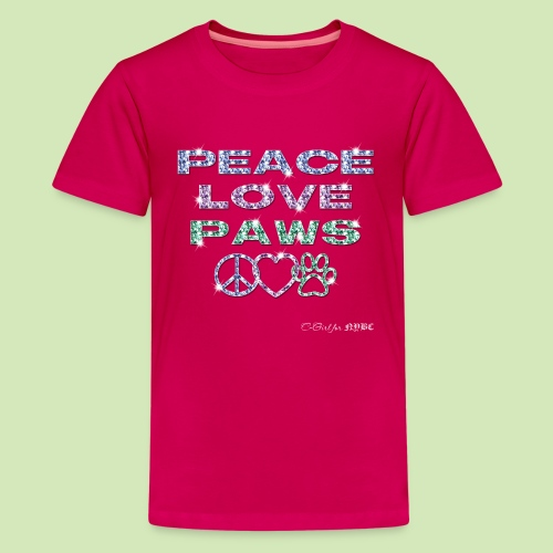 GIVE BACK- Peace Love Paws - Kids' Premium T-Shirt
