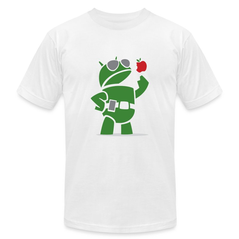 Android eats apples (Men's T-Shirt by American Apparel) - Men's T-Shirt by American Apparel