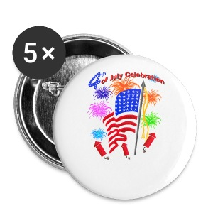 4th Of July Celebration Button 5 Pack - Large Buttons