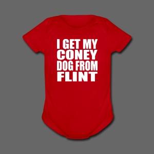 I Get My Coney Dog Fro Flint - Short Sleeve Baby Bodysuit
