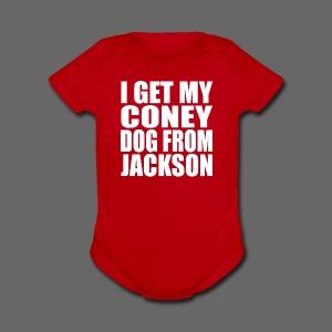 I Get My Coney Dog From Jackson - Short Sleeve Baby Bodysuit