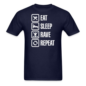 Eat Sleep Rave Repeat White Font Men's T-shirt - Men's T-Shirt