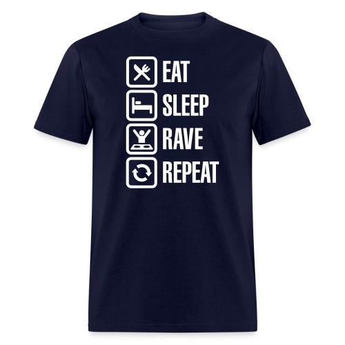 Eat Sleep Rave Repeat White Font Men's T-shirt - Men's T-Shirt