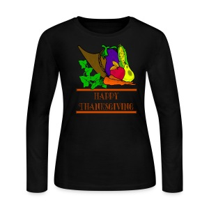 Happy Thanksgiving Long Sleeve Jersey T-Shirt For Women - Women's Long Sleeve Jersey T-Shirt