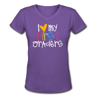 Women's T-Shirts ~ Women's V-Neck T-Shirt ~ Love My First Graders | Prism | Teacher Shirts