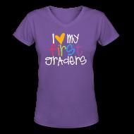 Women's T-Shirts ~ Women's V-Neck T-Shirt ~ Love My First Graders | Prism | Teacher Shirts
