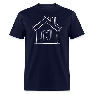 House Music Sketch Logo White Outline Men's T-shirt - Men's T-Shirt