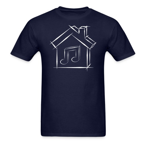House Music Sketch Logo White Outline Men's T-shirt - Men's T-Shirt
