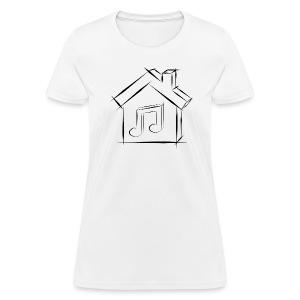 House Music Sketch Logo Black Outline Women's T-shirt - Women's T-Shirt