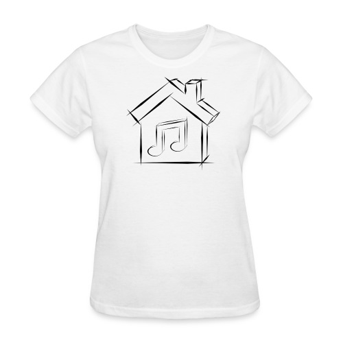 House Music Sketch Logo Black Outline Women's T-shirt - Women's T-Shirt