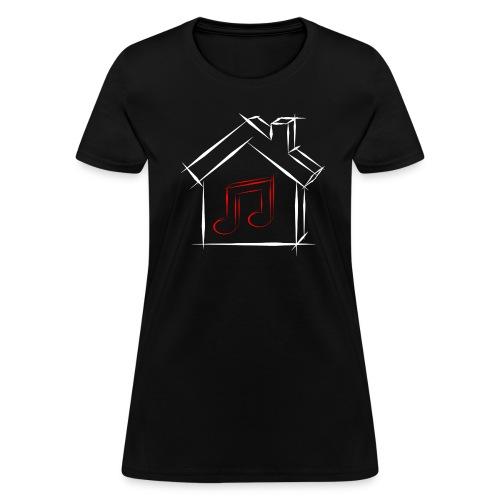 House Music Sketch Logo Black Outline Red Note Women's T-shirt - Women's T-Shirt