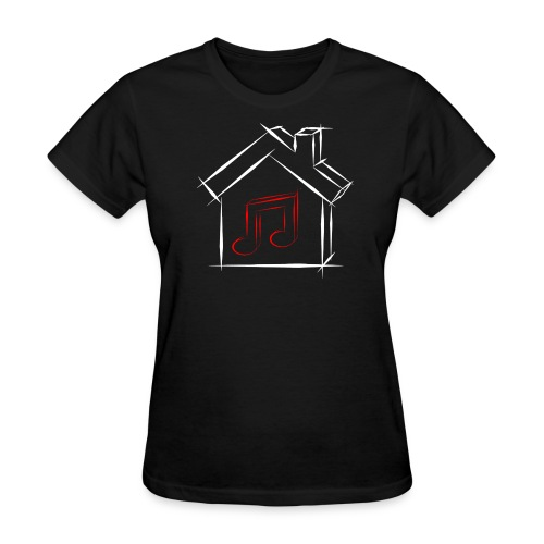 House Music Sketch Logo Black Outline Red Note Women's T-shirt - Women's T-Shirt