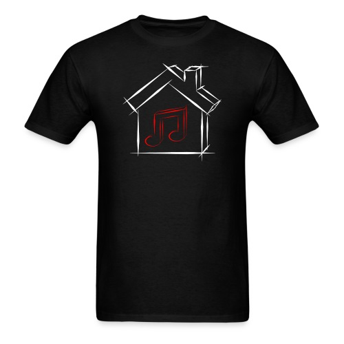 House Music Sketch Logo Black Outline Red Note Men's T-shirt - Men's T-Shirt