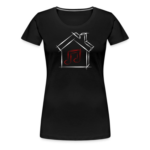 House Music Sketch Logo Black Outline Red Note Women's Premium T-shirt - Women's Premium T-Shirt