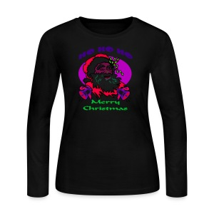 Ho Ho Ho Merry Christmas Long Sleeve Jersey T-Shirt For Women - Women's Long Sleeve Jersey T-Shirt