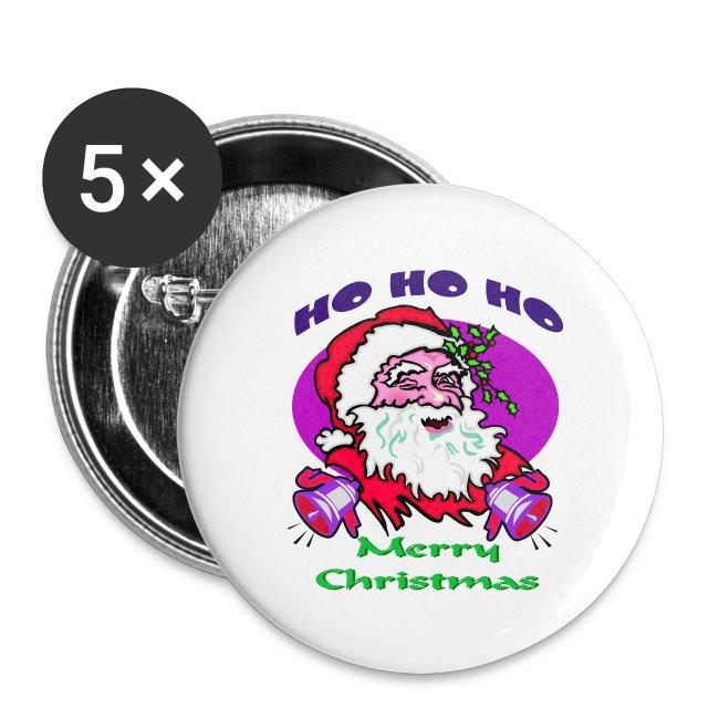ho ho ho merry christmas button 5 pack - Christmas Buttons