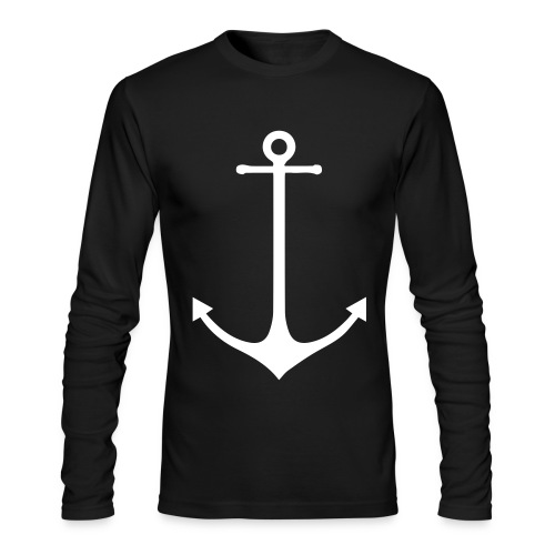 Old Captain White Anchor Print - Men's Long Sleeve T-Shirt by Next Level