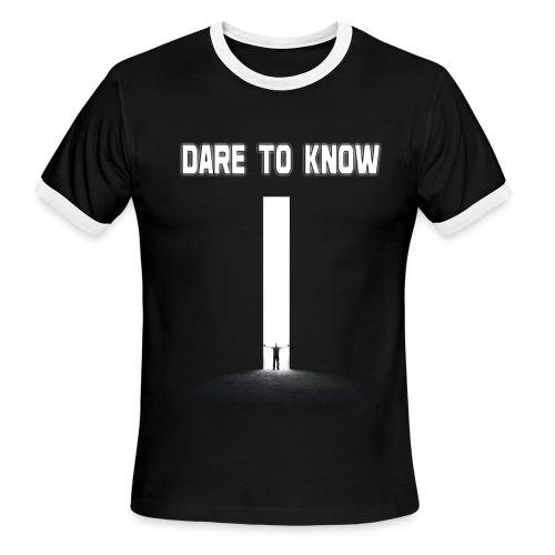 Hybrid Librarian's DARE Tʘ KNOW Men's Ringer Shirt - Men's Ringer T-Shirt
