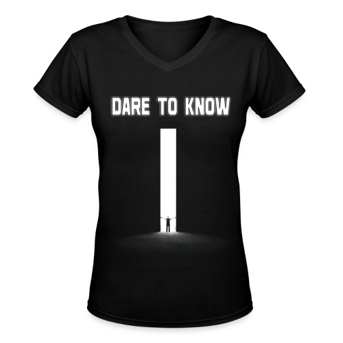 Hybrid Librarian's DARE Tʘ KNOW Women's Shirt - Women's V-Neck T-Shirt