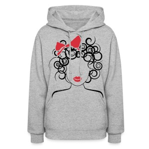 Curly Girl (red bow) - Women's Hoodie