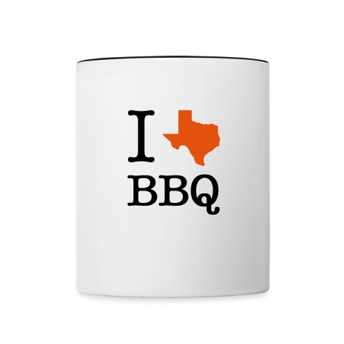 Contrast Coffee Mug - Drink your coffee in style while showing off how much you love Texas barbecue with a I [Texas] BBQ coffee mug. It makes the perfect gift for yourself or someone special in your life.