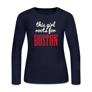 This Girl Roots For Boston - Women's Long Sleeve Jersey T-Shirt