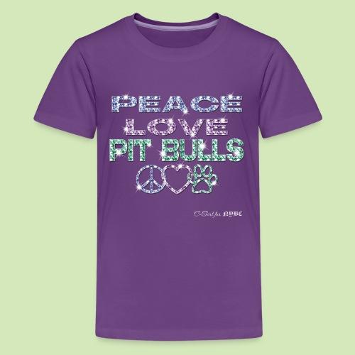 GIVE BACK- Peace Love Pitbulls - Kids' Premium T-Shirt