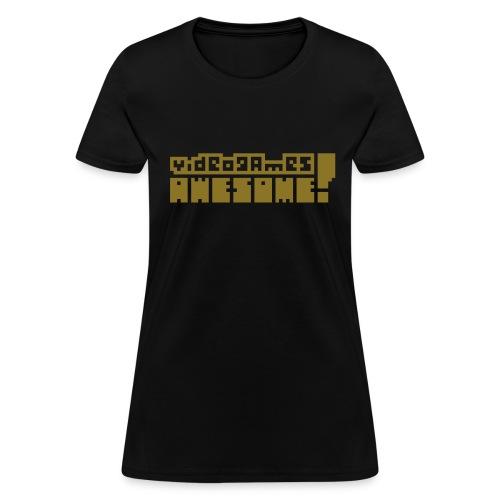 Metallic Gold on Black - Women's T-Shirt