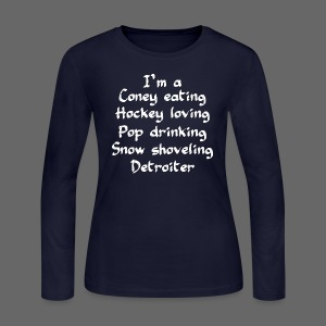 Coney Eating Hockey Loving - Women's Long Sleeve Jersey T-Shirt