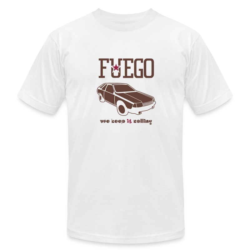 Rogue Fuego With (Brown/Crimson) - Men's T-Shirt by American Apparel
