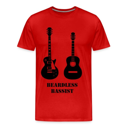 Red guitarist shirt BEARDLESS BASSIST - Men's Premium T-Shirt