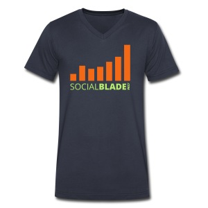 Social Blade Green and Orange Logo V-Neck - Men's V-Neck T-Shirt by Canvas