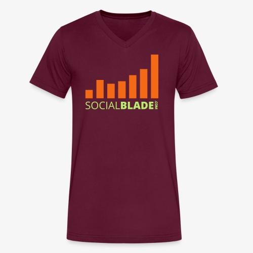 Social Blade Green and Orange Logo V-Neck - Men's V-Neck T-Shirt by Canvas