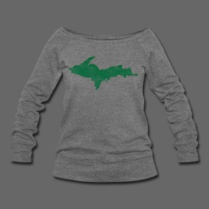 Distressed Upper Peninsula  - Women's Wideneck Sweatshirt