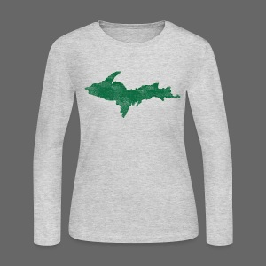 Distressed Upper Peninsula  - Women's Long Sleeve Jersey T-Shirt