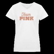 T-Shirts ~ Women's V-Neck T-Shirt ~ Team Pink (non maternity)  (pink GLITTER)