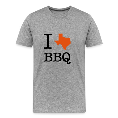 Men's Premium T-Shirt - Walk around in style and show off how much you love Texas BBQ with a men's t-shirt emblazoned with an I [Texas] BBQ design. Your friends will be jealous but that's not your problem.