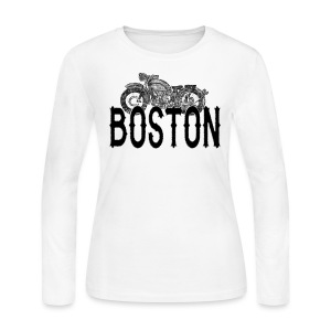 Vintage Boston Motorcycle  - Women's Long Sleeve Jersey T-Shirt