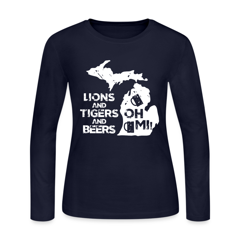 LIONS & TIGERS & BEERS, OH MI! - Women's Long Sleeve Jersey T-Shirt