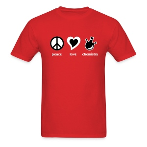 YellowIbis.com 'Chemical One Liners' Men's / Unisex Standard T-Shirt: Peace Love Chemistry (Red) - Men's T-Shirt