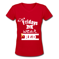 Women's T-Shirts ~ Women's V-Neck T-Shirt ~ On Fridays...+yellow bow on back