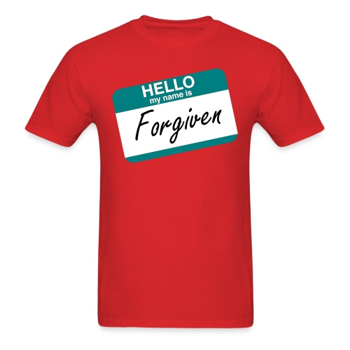 Hello My Name Is Forgiven Teal Name Tag - Men's T-Shirt