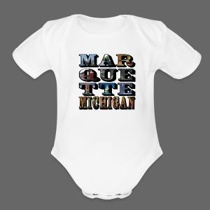 Marquette MI Stacked - Short Sleeve Baby Bodysuit