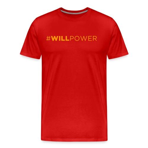 Men's Premium T-Shirt - Red shirt with Orange text.