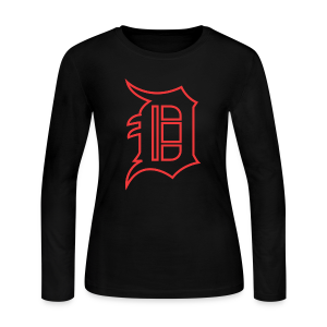 Outline D Red - Women's Long Sleeve Jersey T-Shirt