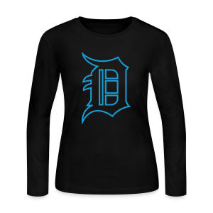 Outline D Blue - Women's Long Sleeve Jersey T-Shirt