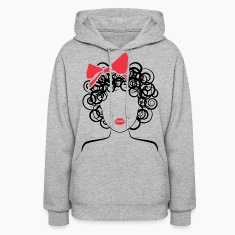 Coily Girl with Red Bow_Global Couture_logo Hoodie