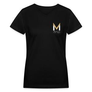 Women's MeloV-Neck (Black) - Women's V-Neck T-Shirt