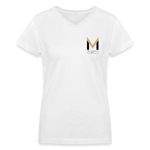 Women's MeloV-Neck (White) - Women's V-Neck T-Shirt