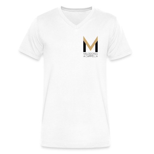 Men's MeloV-Neck (White) - Men's V-Neck T-Shirt by Canvas